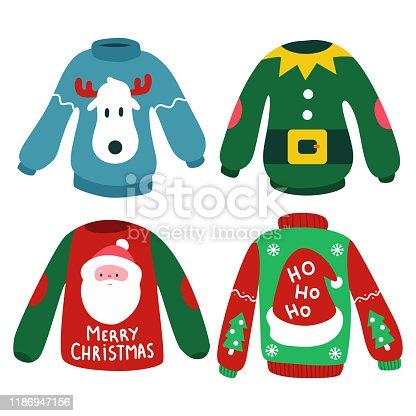 Christmas jumper vector cartoon set.
