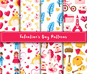 Valentine Day seamless pattern set - cartoon kawaii girl and boy in retro suit, corgi puppy, unicorn, feathers, hot cocoa cup, retro phone, hearts, romantic vector background for wrapping, textile
