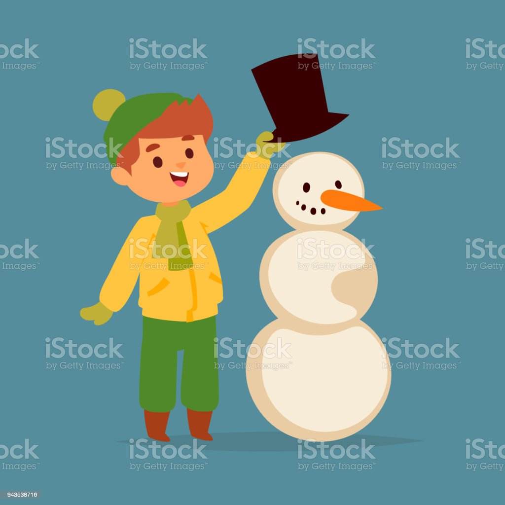 Weihnachten Kind Junge Vektor Charakter Spielen Winter Spiele Winter ...