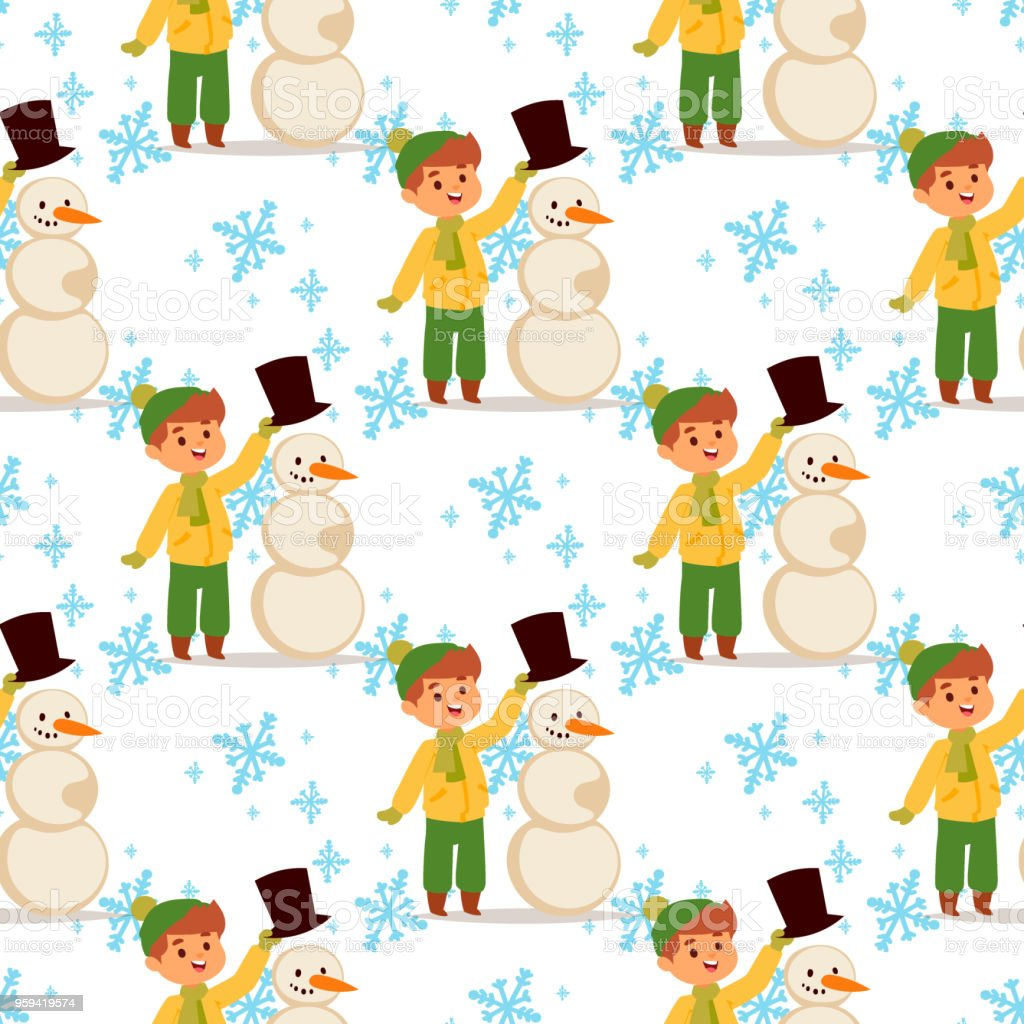 Christmas Kid Boy Vector Character Playing Winter Games Winter ...