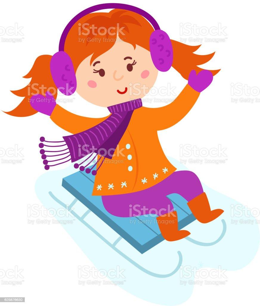 Christmas kid playing winter game. vector art illustration