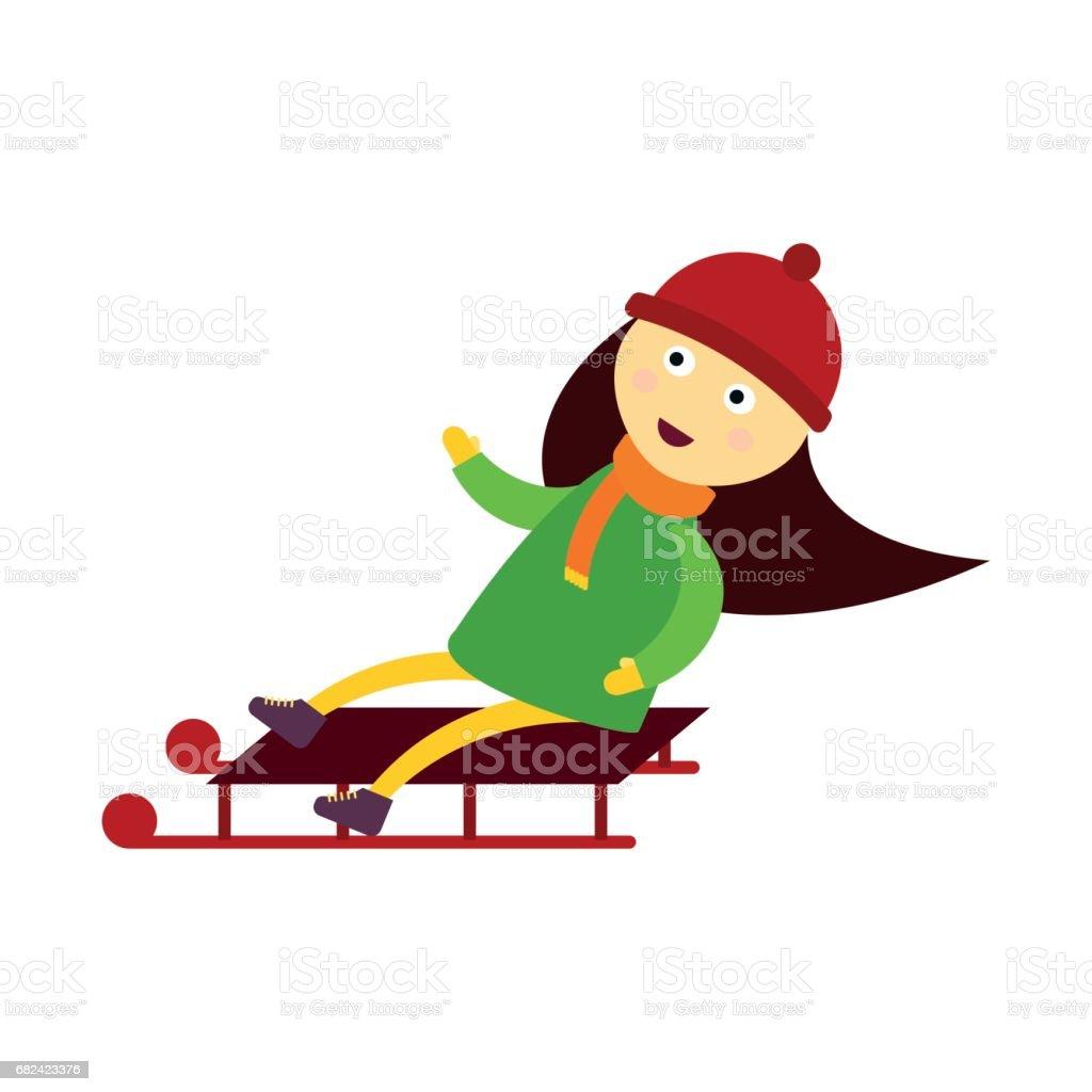 Chevreau Noël, jouer à des jeux d'hiver luge fille jouant le personnage de dessin animé nouvel an vacances traditionnel vecteur chevreau noël jouer à des jeux dhiver luge fille jouant le personnage de dessin animé nouvel an vacances traditionnel vecteur – cliparts vectoriels et plus d'images de activité de plein air libre de droits