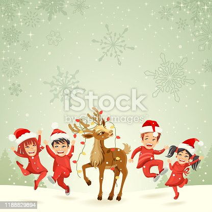 istock Christmas Kids and Rudolph 1188829894