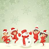 Christmas kids and snowman