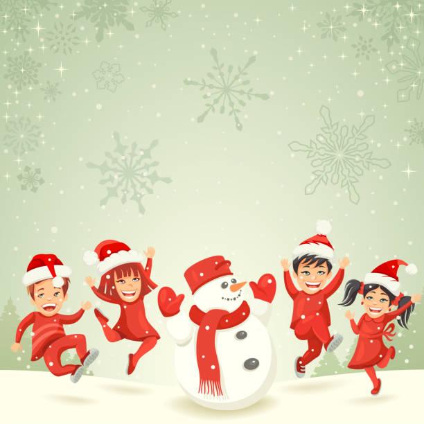 Christmas kids and snowman vector art illustration