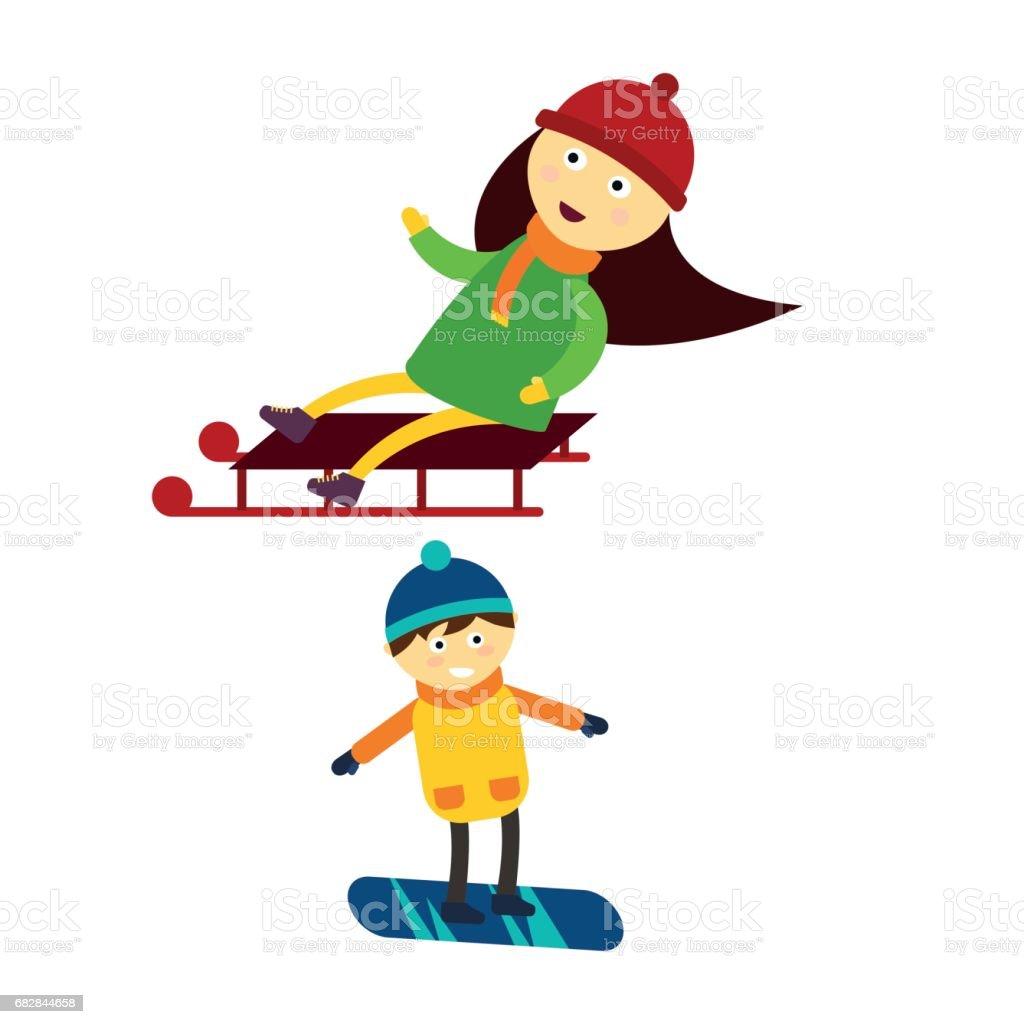 Weihnachten Kinder spielen Winter Skifahren Rodeln cartoon Silvester Winterurlaub Zeichen-Illustration Vektor Lizenzfreies weihnachten kinder spielen winter skifahren rodeln cartoon silvester winterurlaub zeichenillustration vektor stock vektor art und mehr bilder von baby