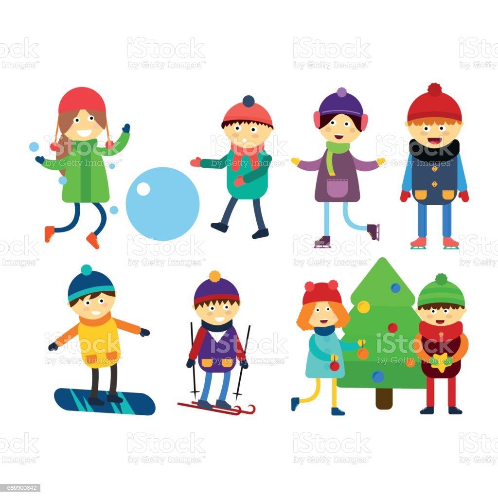 クリスマス子供そりスキー冬ゲームをプレイ漫画新年冬休み文字ベクトル