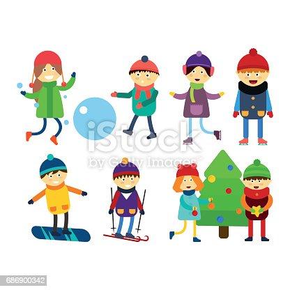 Enfants no l jouer des jeux dhiver ski luge dessin anim - Jeux pere noel luge ...