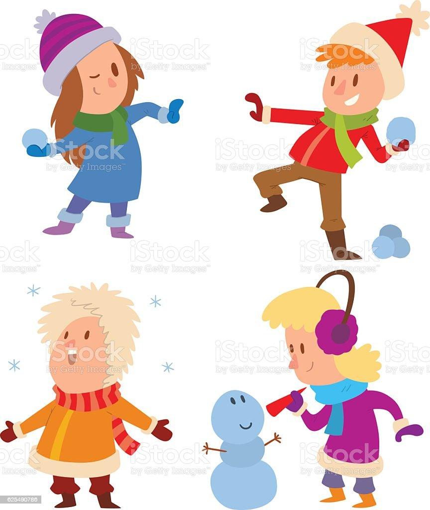 Natale Bambini Che Giocano Giochi Invernali Immagini Vettoriali