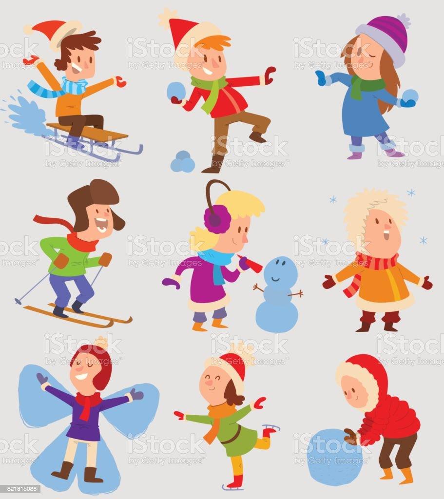 Weihnachten Kinder Spielen Winter Spiel Stock Vektor Art und mehr ...