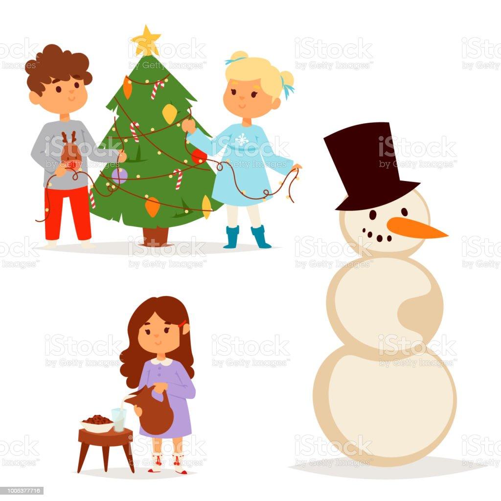 Weihnachtsbaum Spiele.Weihnachten Kinder Vektor Charakter Spielen Spiele Kinder Winter