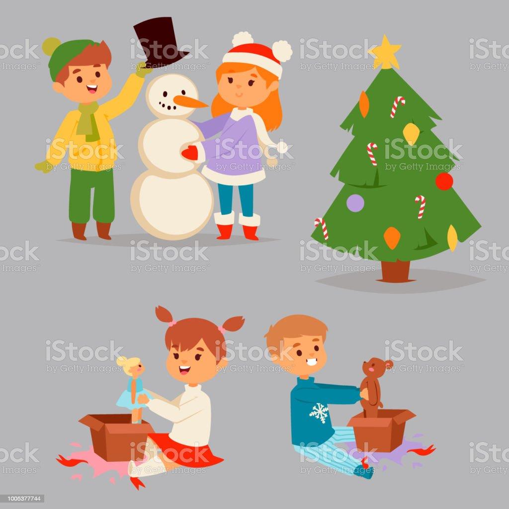 Weihnachtsbaum Spiele.Weihnachten Kinder Vektor Charakter Spielen Spiele Kinder Winter Winterurlaub Weihnachtsbaum Cartoon Neujahr Weihnachten Kind Stock Vektor Art Und