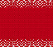 Christmas knit geometric ornament with empty place for text. Knitted textured background. Knitted pattern for a sweater in fair Isle style. Vector illustration.