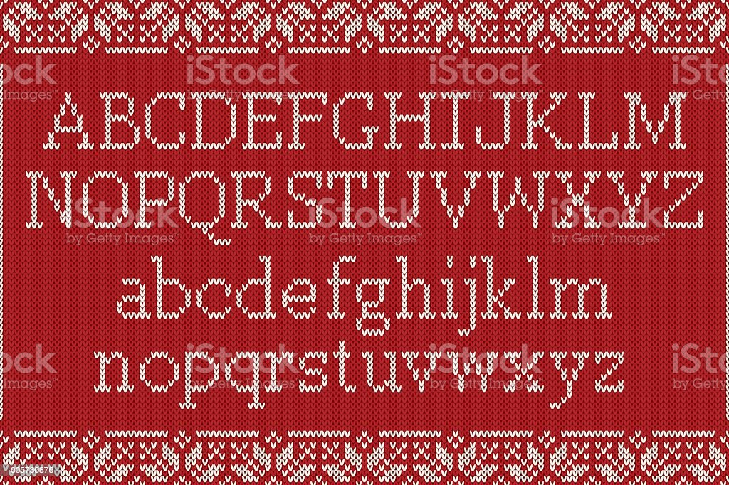 Christmas Knitted Font. Knitted Latin Alphabet on Seamless Background - ilustración de arte vectorial
