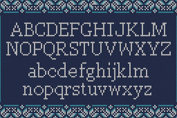 christmas knitted font. knitted latin alphabet on seamless background - alphabet backgrounds stock illustrations