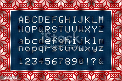 Christmas Knitted Font. Latin Alphabet Letters and Numbers on Knit Background - Vector.
