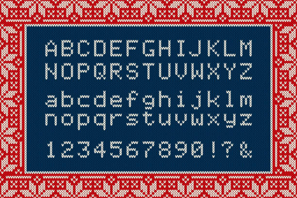 christmas knitted font. latin alphabet letters and numbers on knit background - vector - alphabet borders stock illustrations