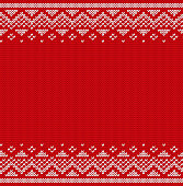 Christmas pattern. Knit seamless design. Vector Xmas ornaments. Knitted winter sweater. New year red background with place for text.