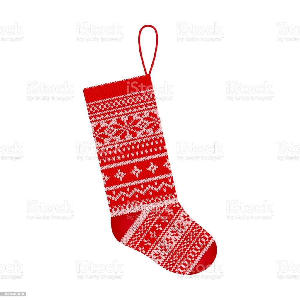 Christmas Knitting Stocking In Scandinavian Style Isolated On White ...