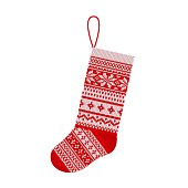 Christmas knitting stocking in Scandinavian style isolated on white background