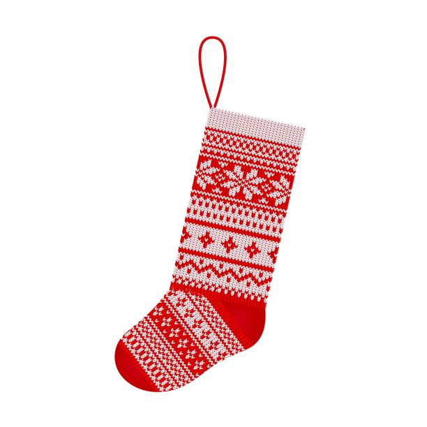 Christmas knitting stocking in Scandinavian style isolated on white background Christmas stocking in Scandinavian style isolated on white background Hand-knitting Red and white festive Christmas ornament Vector illustration christmas stocking stock illustrations