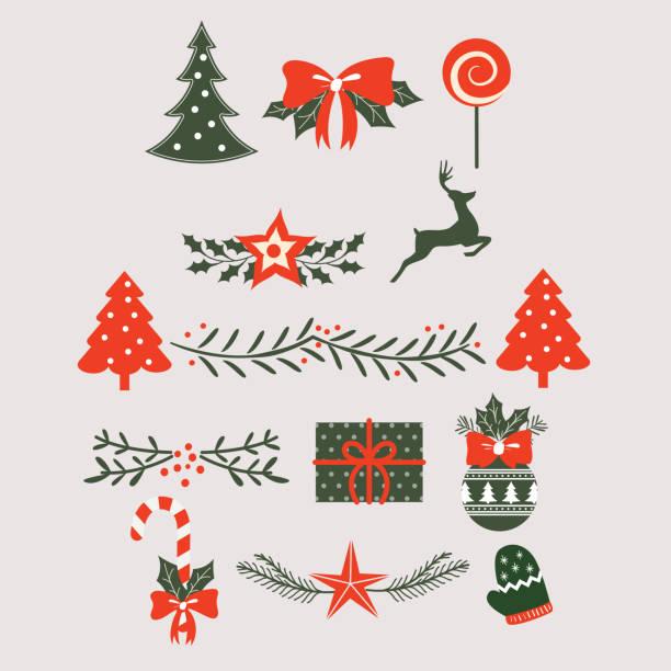 엽서에 대 한 크리스마스 라벨 및 디자인 요소 - 날씨 stock illustrations