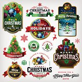 A complete set of Christmas themed labels, badges and illustrations. EPS 10 file, layered & grouped, with meshes and transparencies.