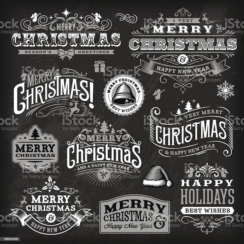 Christmas Label Set - Chalkboard vector art illustration