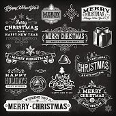 A set of chalkboard Christmas themed labels, badges and illustrations. EPS 10 file, layered & grouped,