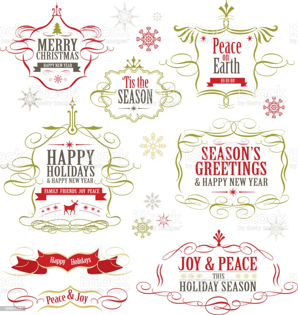 Christmas label set of designs vector art illustration