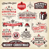 A set of Christmas themed labels, badges and illustrations. EPS 10 file, layered & grouped,