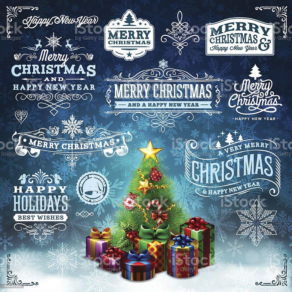 Christmas Label Set vector art illustration