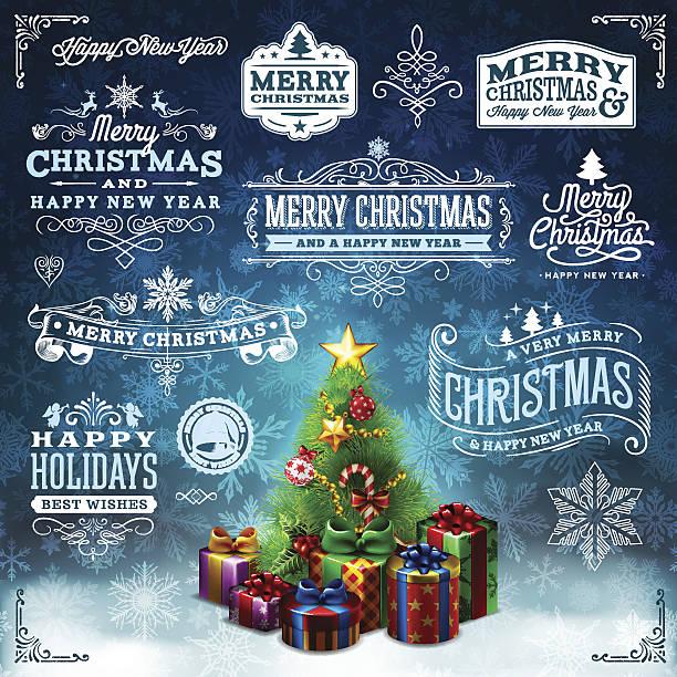クリスマスラベルセット - 集める点のイラスト素材/クリップアート素材/マンガ素材/アイコン素材