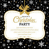 Christmas party invitation in snowflake and star background.