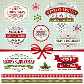 Christmas labels and elements. EPS 10 file contains transparencies. Grouped and layered with global colors. Please take a look at other work of mine linked below.