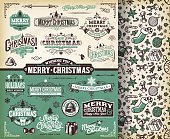 A complete set of Christmas themed labels, badges and illustrations. A snowscape vector background is included. EPS 10 file, layered & grouped, with meshes and transparencies.