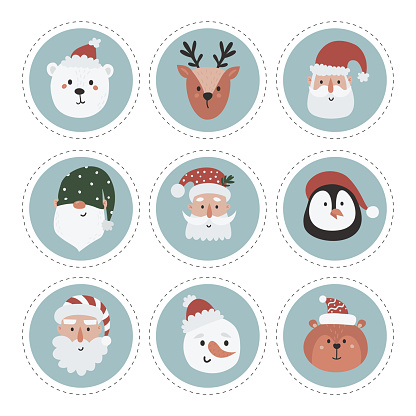 Christmas labels collection with snowman, gnome, santa and woodland animals