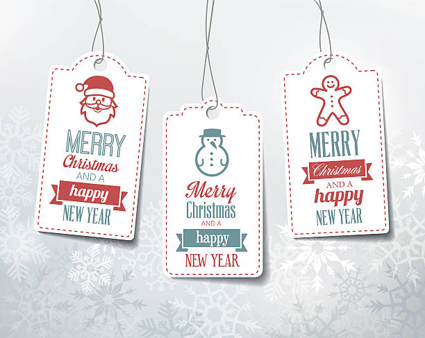 bildbanksillustrationer, clip art samt tecknat material och ikoner med christmas labels - decorations. - christmas presents