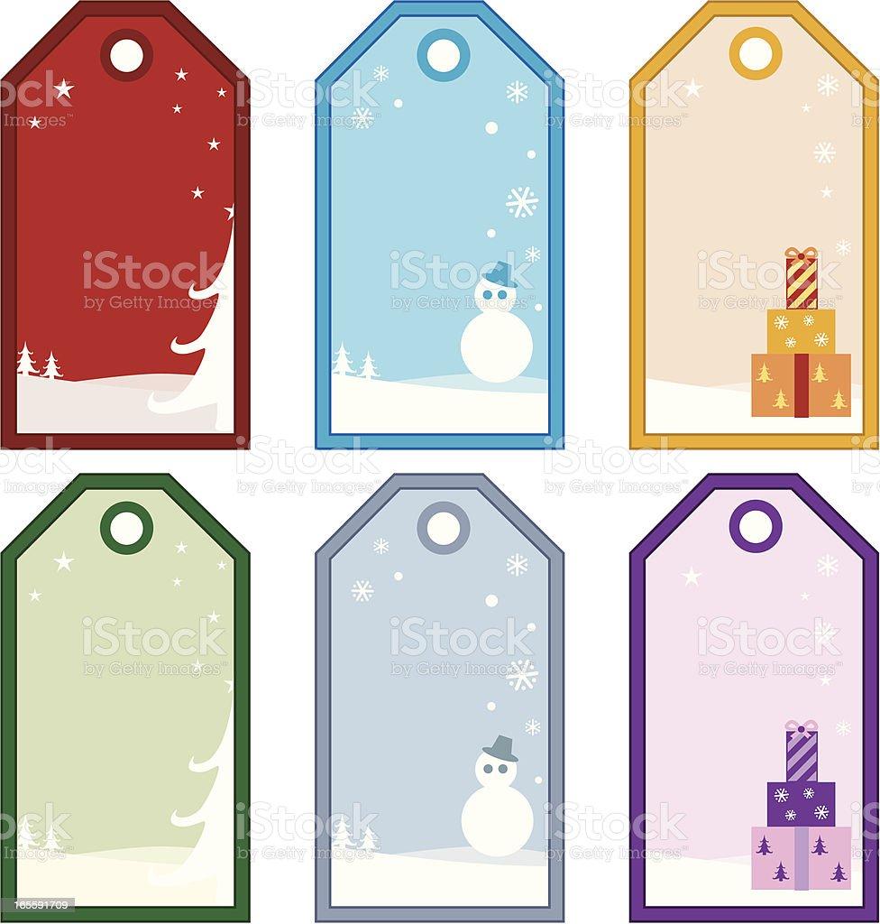 Weihnachten Aufkleber in sechs Farben – Vektorgrafik