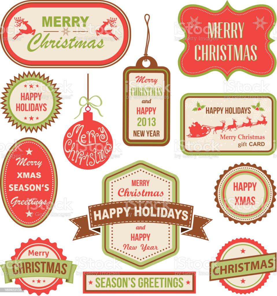 Christmas labels, vector illustration