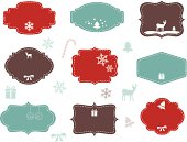 Collection of elegant labels with Christmas symbols and blank space for your text.