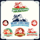 Christmas labels with Santa Claus illustration and text. All objects are grouped and layered separately. Eps10 file, illustration contains transparency effects in gradients. High resolution JPEG, AI-CS and CS5 files with editable text included.