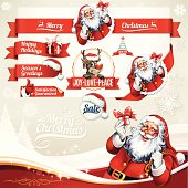 Vector set of Christmas labels with Santa Claus and Rudolph illustrations. All objects are grouped and layered separately. Eps10 file, illustration contains transparency effects in gradients. AI-Cs and Cs5 files included.