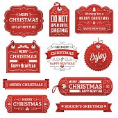 Christmas gift tags and labels with text. Radial and linear gradients used. No effects, transparency, clipping masks or strokes used.