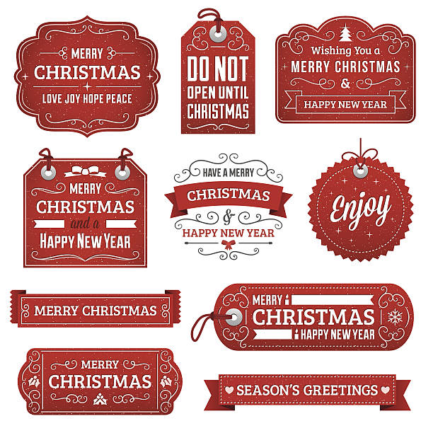 Christmas Labels Christmas gift tags and labels with text. Radial and linear gradients used. No effects, transparency, clipping masks or strokes used. label stock illustrations