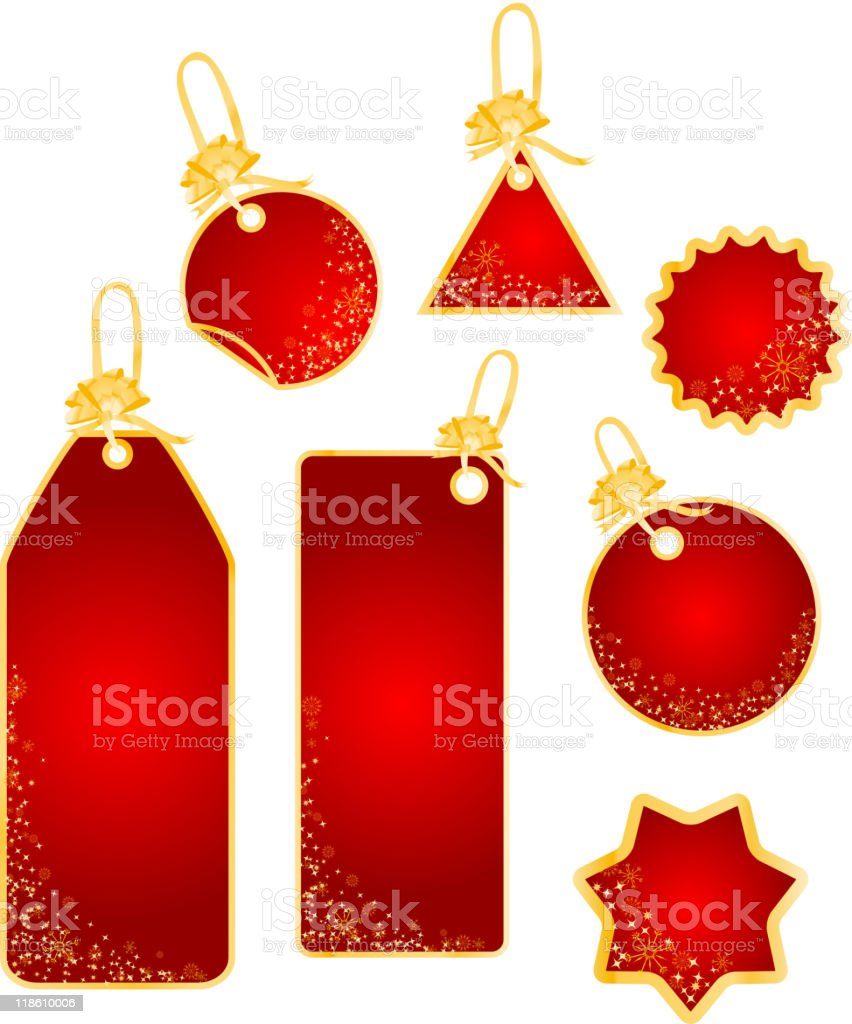 Christmas labels with snowflakes design royalty-free stock vector art