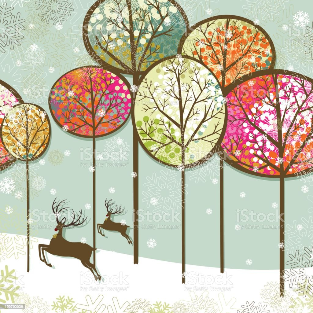 Christmas landscape and reindeers vector art illustration