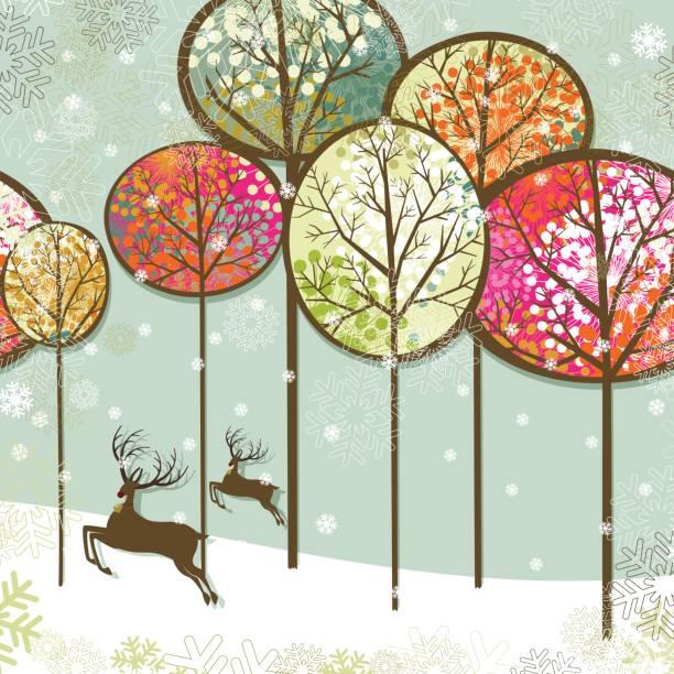 Christmas landscape and reindeers vector art illustration