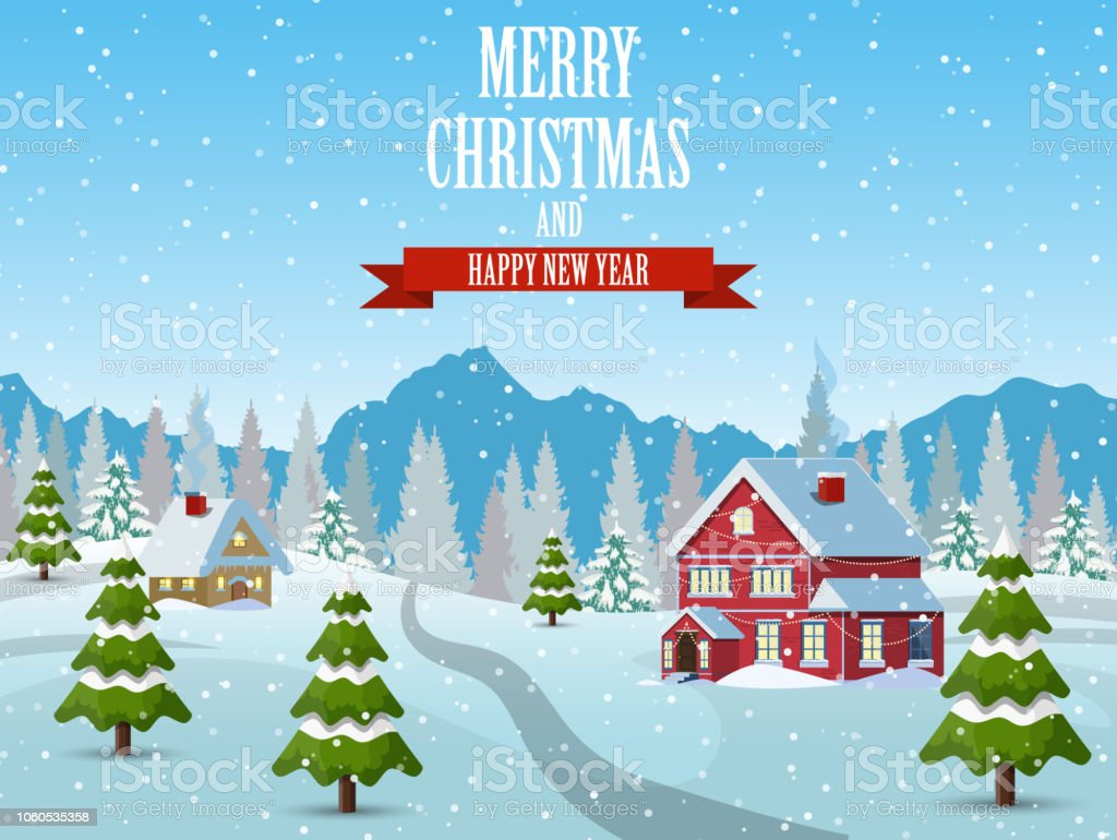 Christmas Landscape Background With Snow And Tree Stock Vector Art ...