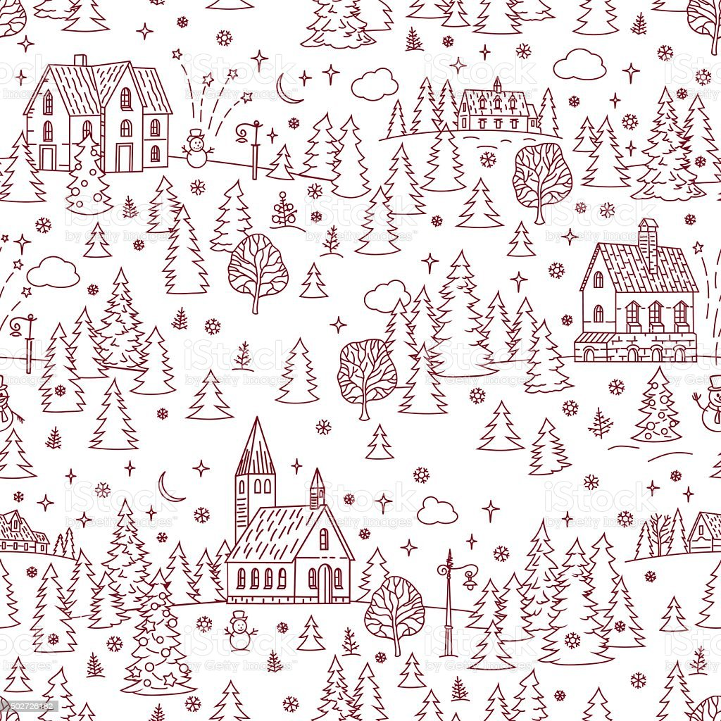 Christmas Landscape Seamless Background vector art illustration
